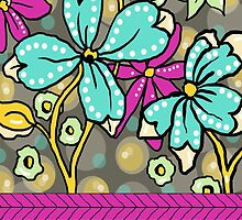 Floral Dreamweaver Pattern Turquoise and Pink by veggiemuse
