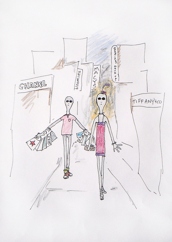 Drawing Day - The Greys Go Shopping by Tama Blough