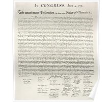 United States Declaration of Independance - From Stone Engraving Poster