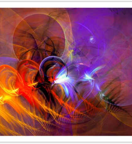 Feather in the wind - colorful digital abstract art by Gordan P. Junior Sticker