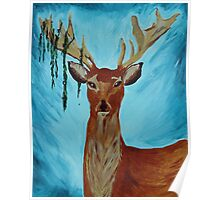 Deer Tangled in a Bush Poster
