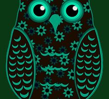 Turquoise and Brown Floral Owl (on green) by shaneisadragon