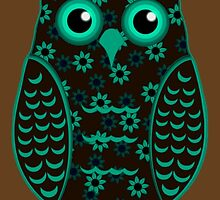 Turquoise and Brown Floral Owl (on mocha) by shaneisadragon