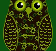 Yellow and Brown Floral Owl (on green) by shaneisadragon
