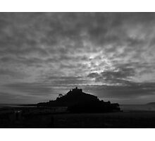St Michaels Mount on a Cloudy Winter's Day Photographic Print