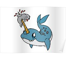 Narwhal with seal  Poster