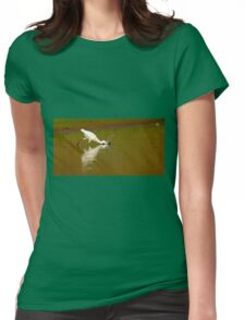 Little egret (Egretta garzetta) foraging for food while wading in a pool.  Womens Fitted T-Shirt