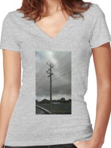 a day and a life of a telephone pole cloudy-style Women's Fitted V-Neck T-Shirt