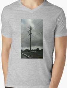 a day and a life of a telephone pole cloudy-style Mens V-Neck T-Shirt