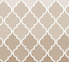 Trendy Chic Girly Cream Brown Quatrefoil Pattern by Maria Fernandes