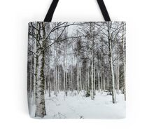 Lapland, Scandinavia, snow covered trees in a forest Tote Bag