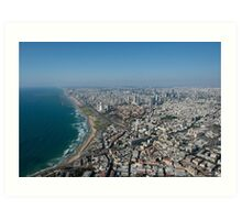 Aerial Photography of Tel Aviv, Israel view of the coast line as seen from south Art Print