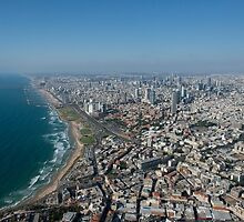 Aerial Photography of Tel Aviv, Israel view of the coast line as seen from south by PhotoStock-Isra