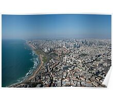 Aerial Photography of Tel Aviv, Israel view of the coast line as seen from south Poster