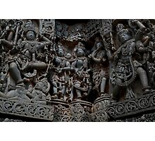 Temple Sculptures, Halebid, India Photographic Print