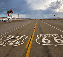 Headed For A Gully Washer On Route 66 by photosbyflood