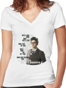David Tennant - He's wonderful Women's Fitted V-Neck T-Shirt