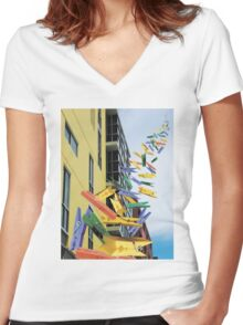 Pegs Women's Fitted V-Neck T-Shirt