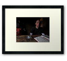 Ty in the Walkers Hut Window Light Framed Print
