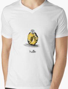 Penguin Illustration Mens V-Neck T-Shirt