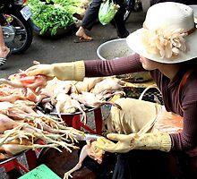 The Market Lady with a Hat - Phnom Penh, Cambodia. by Tiffany Lenoir