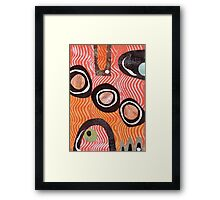 Funky retro orange print Framed Print