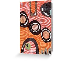 Funky retro orange print Greeting Card