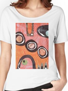 Funky retro orange print Women's Relaxed Fit T-Shirt