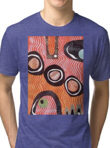 Funky retro orange print Tri-blend T-Shirt