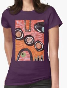 Funky retro orange print Womens Fitted T-Shirt