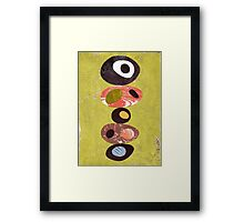 Orange lime green black white retro eames era art Framed Print