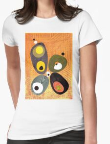 Orange mid century style abstract illustration citrus colors  Womens Fitted T-Shirt