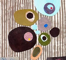 Retro striped abstract mid century inspired collage art  by bearoberts