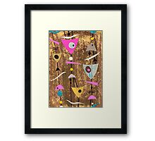 Funky abstract mid century style pink colourful Framed Print