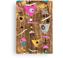 Funky abstract mid century style pink colourful Canvas Print