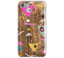 Funky abstract mid century style pink colourful iPhone Case/Skin