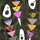 Retro atomic triangles abstract collage art by bearoberts