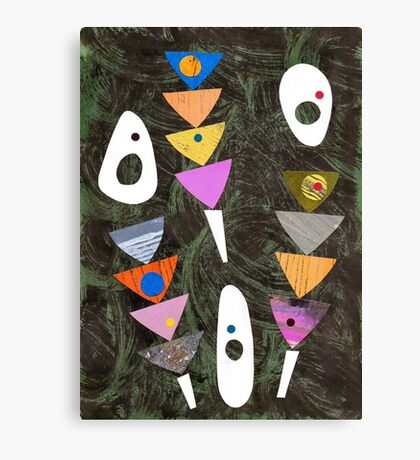 Retro atomic triangles abstract collage art Canvas Print