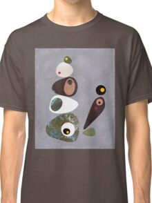 Simple shapes grey abstract retro Classic T-Shirt