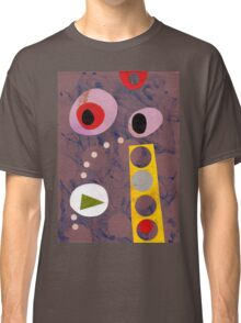 Cool greys, simple shapes retro artwork collage Classic T-Shirt