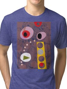Cool greys, simple shapes retro artwork collage Tri-blend T-Shirt