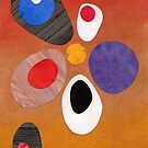 Warm rich colour abstract retro styling painting collage by bearoberts
