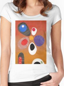 Warm rich colour abstract retro styling painting collage Women's Fitted Scoop T-Shirt