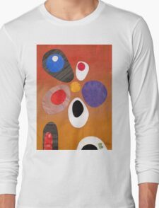 Warm rich colour abstract retro styling painting collage Long Sleeve T-Shirt