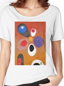 Warm rich colour abstract retro styling painting collage Women's Relaxed Fit T-Shirt