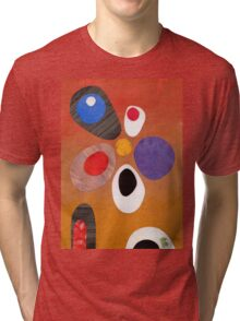 Warm rich colour abstract retro styling painting collage Tri-blend T-Shirt