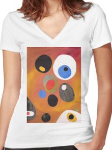 Retro abstract in rich warm colours Women's Fitted V-Neck T-Shirt