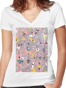 Retro Carnival no2 Women's Fitted V-Neck T-Shirt