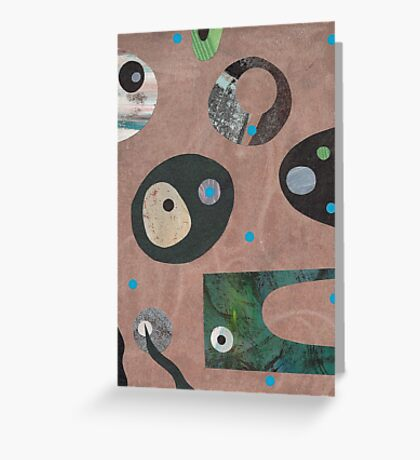 Retro Collage Pale Teracotta Greeting Card