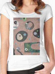 Retro Collage Pale Teracotta Women's Fitted Scoop T-Shirt